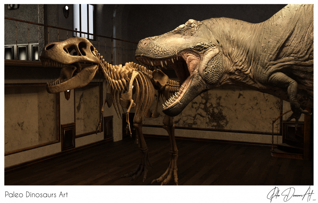 Paleo Dinosaurs Art presents: T-Rex (Tyrannosaurus) at a Dinosaur Exhibition
